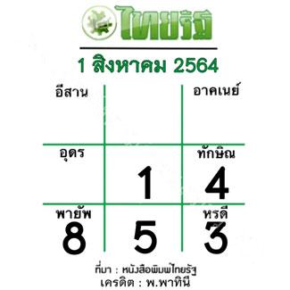 หวยไทยรัฐ งวด 1/8/64