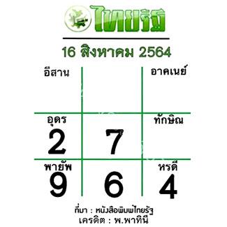แนวทางหวยไทยรัฐ งวด 16/8/64